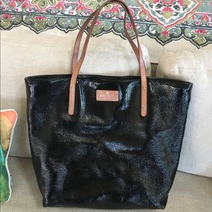 Kate Spade crinkle patent leather shopper, tote